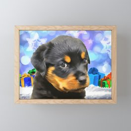 A Rottweiler Puppy for Christmas. (Painting) Framed Mini Art Print