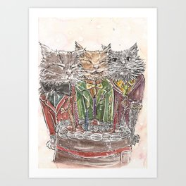 happy birthday cats Art Print