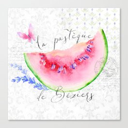 La Pastèque de Béziers—Watermelon and Lavender, Provence Canvas Print