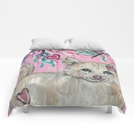 Kitty Cat with Butterflies Comforters
