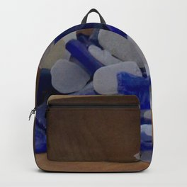 Cobalt and White Sea Glass Backpack