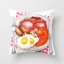 Full English Breakfast Throw Pillow