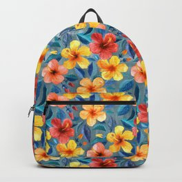 Colorful Watercolor Hibiscus on Grey Blue Backpack