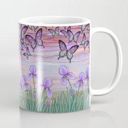 swallowtails, snails, & irises at sunrise Coffee Mug