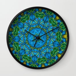 Lovely Healing Mandalas in Brilliant Colors: Blue, Gold, and Green Wall Clock