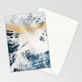 Sunset [1]: a bright, colorful abstract piece in blue, gold, and white by Alyssa Hamilton Art Stationery Cards