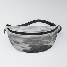 White Waves on Black Rocks Photographic Print Fanny Pack