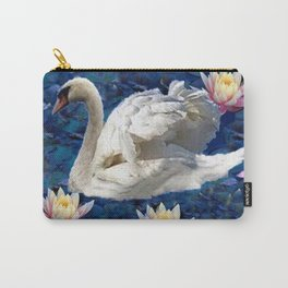 White Swan & Peach Water Lilies Blue Art Carry-All Pouch