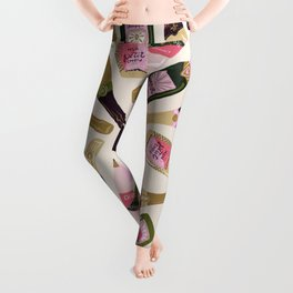 French Champagne Collection – Pink & Green Leggings
