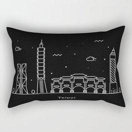 Taipei City Minimal Nightscape / Skyline Drawing Rectangular Pillow