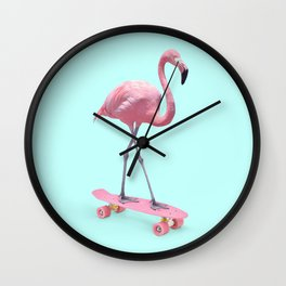 SKATE FLAMINGO Wall Clock