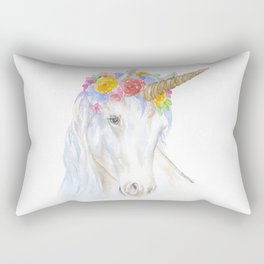 Unicorn Watercolor Painting Rectangular Pillow