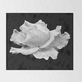 White Rose On Black Throw Blanket