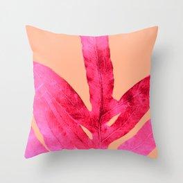 Peach Pink Ferns, Living Coral Throw Pillow