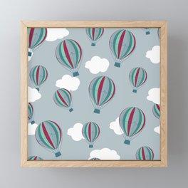 Hot air balloons and clouds - grayish purple Framed Mini Art Print