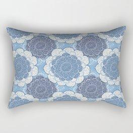Lacy Blue & Navy Mandala Pattern  Rectangular Pillow