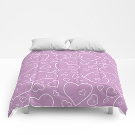 Lavender and White Hand Drawn Hearts Pattern Comforters