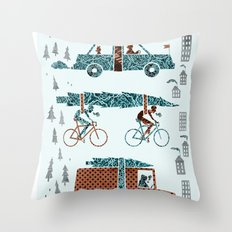 Tree Transportation Throw Pillow