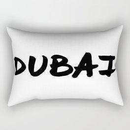 'Dubai' Hand Letter Type Word Black & White Rectangular Pillow