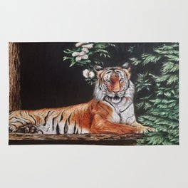 Sitting Magestic Tiger Nature Rug