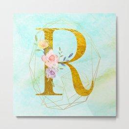 Gold Foil Alphabet Letter R Initials Monogram Frame with a Gold Geometric Wreath Metal Print