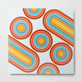 Retro Motion 2 – Orange / Yellow / Blue Abstract Stripe Pattern Metal Print