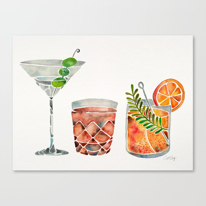 Classic Cocktails  – 1960s Watercolor Lineup Leinwanddruck
