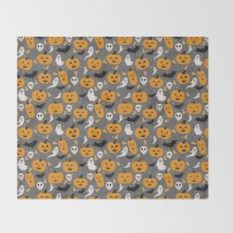 Pumpkin Party in Gray Throw Blanket