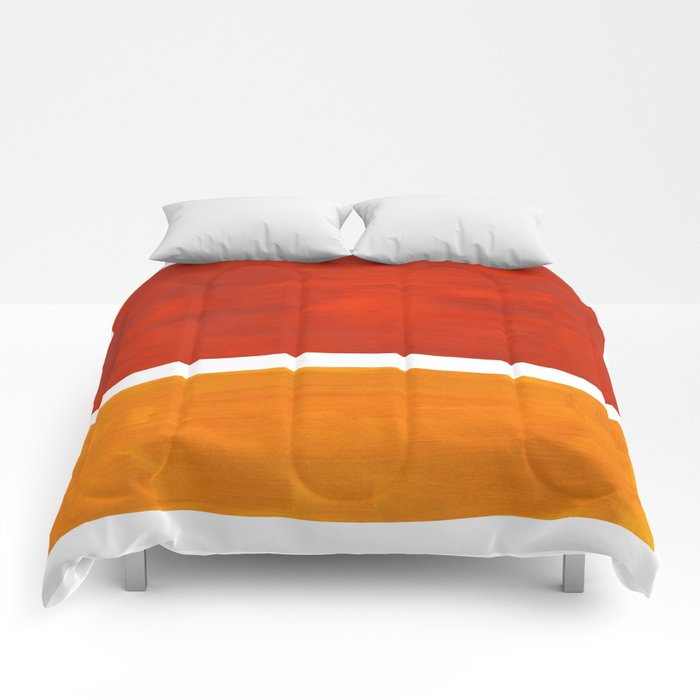 Burnt Orange Yellow Ochre Mid Century Modern Abstract Minimalist Rothko Color Field Squares Comforters