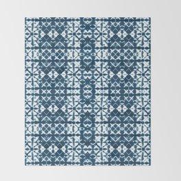 Tie dye, Shibori, indigo, chevron print Throw Blanket