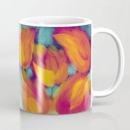 Kaleidoscope fuchsia and yellow tulips on aqua background Coffee Mug