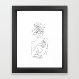 Minimal Line Art Woman with Flowers IV Framed Art Print