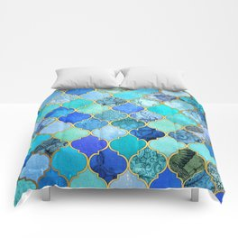 Cobalt Blue, Aqua & Gold Decorative Moroccan Tile Pattern Comforters