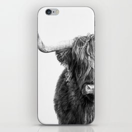 Highland Cow Portrait - Black and White iPhone Skin