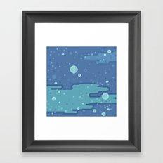 Blue Space Bubbles (8bit) Framed Art Print
