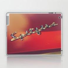 Triumph spitfire, chromed logo, macro photo, supercar details, red auto Laptop & iPad Skin