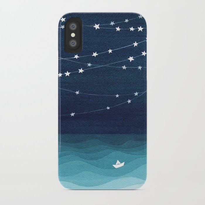 Garlands of stars, watercolor teal ocean iPhone Case