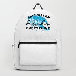 Ocean Quote Love Beach Salt Water Heals Everything Waves Sea design Backpack