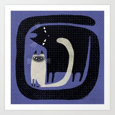 CONTRAST CATS Art Print