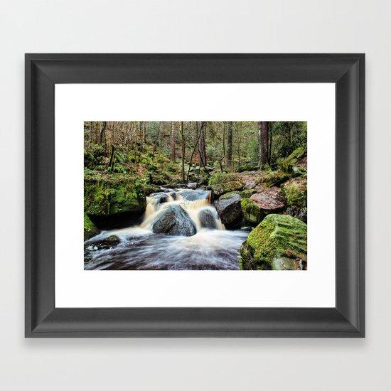 Wyming Brook Cascades Framed Art Print