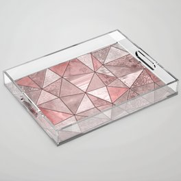 Soft Pink Coral Glamour Gemstone Triangles Acrylic Tray