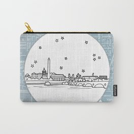 Washington D.C., City Skyline Illustration Drawing Carry-All Pouch
