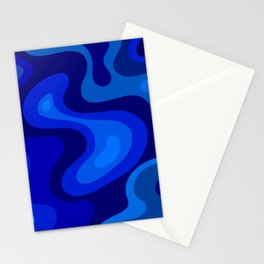 Blue Abstract Art Colorful Blue Shades Design Stationery Cards