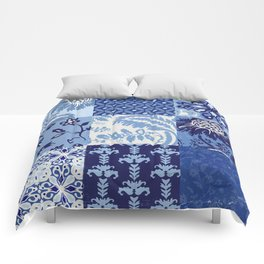 Blue and White Patchwork Squares Comforters
