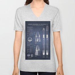 NASA SpaceX Crew Dragon Spacecraft & Falcon 9 Rocket Blueprint in High Resolution (dark blue) Unisex V-Neck