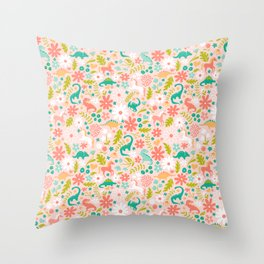 Dinosaurs + Unicorns in Pink + Teal Throw Pillow