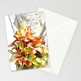 The bride had a orange lily bouquet Stationery Cards