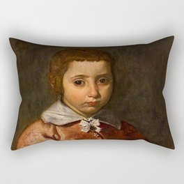 "Diego Velázquez ""Portrait of a Girl in Prayer"" or ""The Virgin Mary as a Child"" Rectangular Pillow"