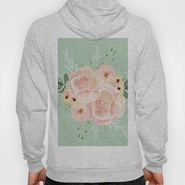 Wild Roses on Pastel Cactus Green Hoody