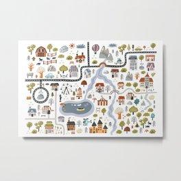 Town Map Metal Print